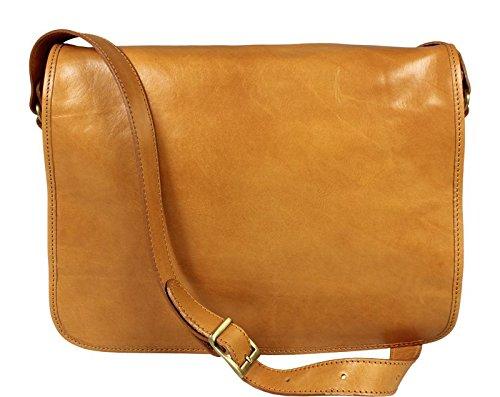 Schöne praktische Leder Camel Umhängetasche aus Leder für Herren Lorenzo Camel Chiaro über die Schulter NmJcnd