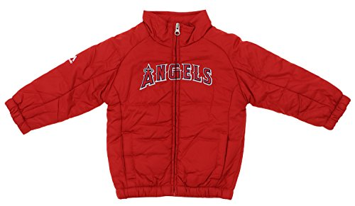 La Angels Jacket - Outerstuff MLB Kid's Toddler's Los Angeles Angels Double Climate On Field Jacket, Red 3T