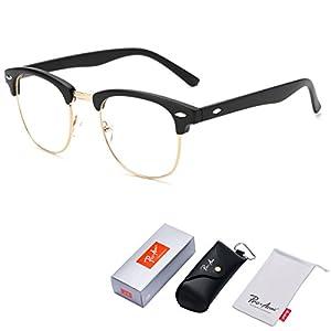 Pro Acme Vintage Inspired Semi-Rimless Clubmaster Clear Lens Glasses Frame Horn Rimmed (Matte Black)