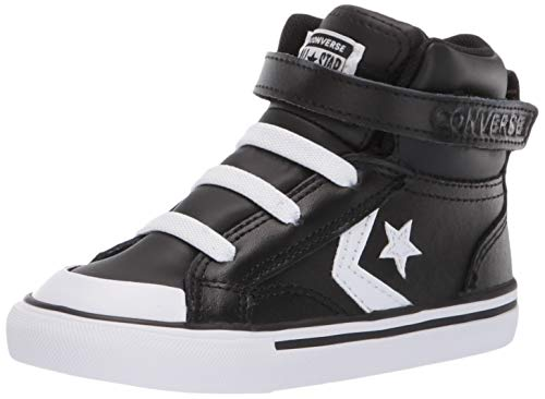 Converse Boys Infants' Pro Blaze Strap Leather High Top Sneaker, Black White, 8 M US Toddler ()