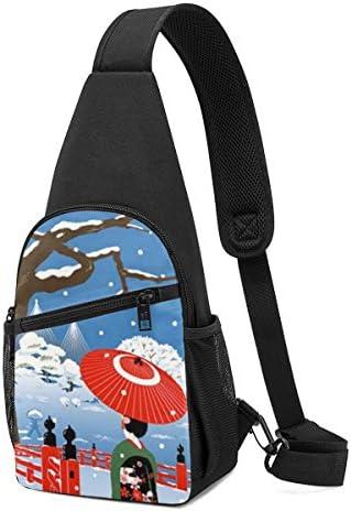 ボディ肩掛け 斜め掛け 芸者 着物 傘椿 雪冬 ショルダーバッグ ワンショルダーバッグ メンズ 軽量 大容量 多機能レジャーバックパック