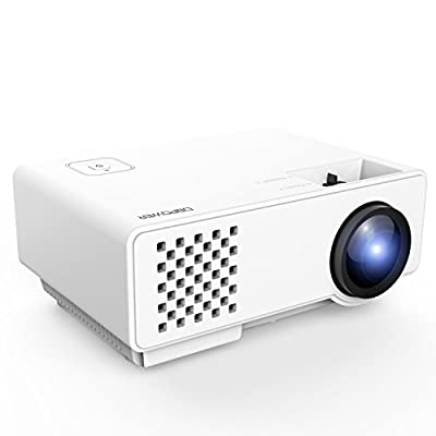DBPOWER 1200 Lumens LED Portable Projector, Multimedia Home Theater Video Projector Supporting 1080P with HDMI USB VGA AV for Home Cinema TV Laptop Game iPhone Andriod Smartphone