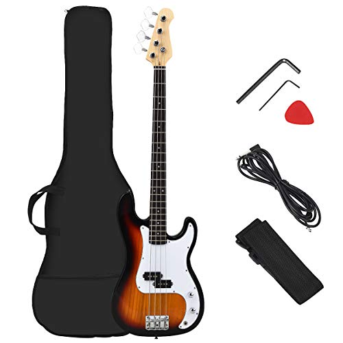 Costzon Full Size Electric 4 String Bass Guitar for Beginner Complete Kit, Rose Fingerboard and Bridge, w/Two Pickups & Two Tone Control, Guitar Bag, Strap, Guitar Pick, Amp Cord (Yellow)