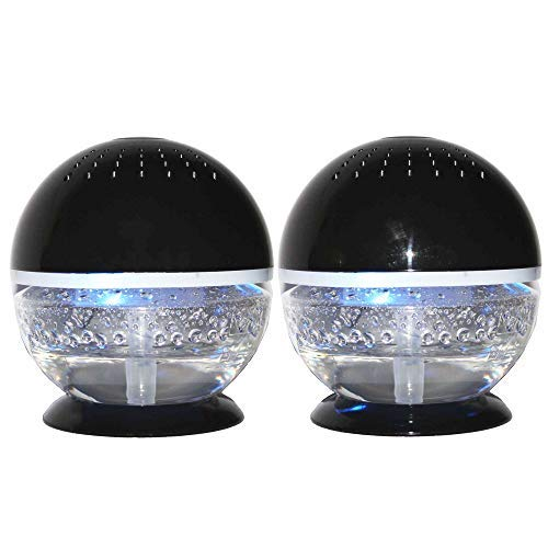 EcoGecko 2 Units Little Squirt- Aroma Globe Diffuser Glowing Water Air Cleaner Washer Revitalizer Aromatherapy Oil Diffuser with 10ML Lavender Oil, Black, 2 Pack
