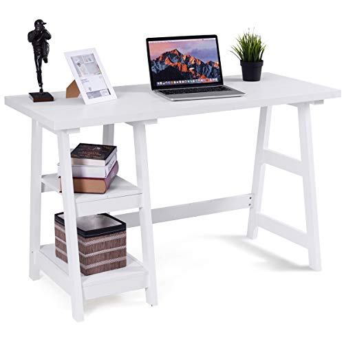 Tangkula Writing Computer Desk, Trestle Desk Study Desk, Laptop PC Desk, Modern Wood Vintage Style Reversible Storage Shelf, Home Office Furniture Sturdy Table Study Table White