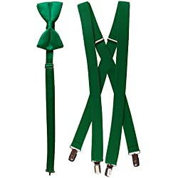 "Bow Tie and Suspender Set Combo in Men's & Kids Sizes (40"" Young Men, Emerald Green)"