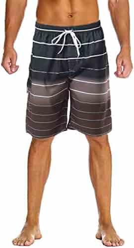 09e3142d86 Lncropo Swimming Trunks for Men Quick Dry Striped Men's Boys Swim Trunks  Beach Board Shorts with