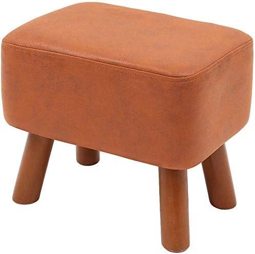 現代Pouffeフットスツールフットレストスツールプーフオスマン、パッド入りの木製の脚の靴スツールソファスツールスモールシートホームオフィスデコレーション (色 : Dark brown)