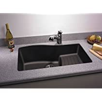 Swanstone QUAD-3322.077 33-Inch by 22-Inch Undermount Ascend Bowl Kitchen Sink, Nero
