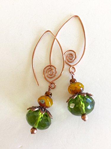 Green Glass Earrings, Green Czech Glass Earrings, Amber Picasso Czech Glass, Drop Earrings, Copper Wire Wrapped Czech Glass Earrings.