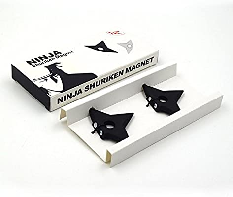 Ninjia Shuriken Fridge Magnets, VITORIAS GIFT Assassin Fashion Metal Magnets ,Pack of 2 (Black)