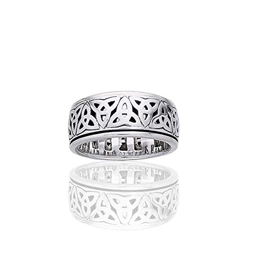 Sterling Silver Celtic Trinity Knot Triquetra Spin Meditation Motion Ring(Sizes 4,5,6,7,8,9,10,11,12,13,14,15)