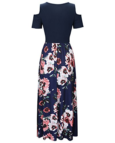 STYLEWORD Women's Summer Cold Shoulder Floral Print Elegant Maxi Long Dress with Pocket(Floral04,L)