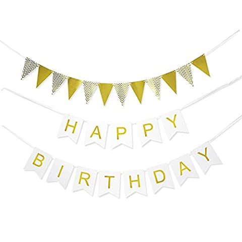 Happy Birthday Flag Banner in 2 Designs - Elegant Bunting Garland Decoration Party Supplies, White and (White And Gold Supplies)