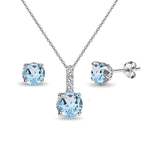 (Sterling Silver Blue Topaz & White Topaz Round Crown Stud Earrings & Necklace Set)
