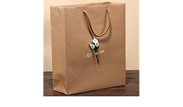 6c357eaa0 Amazon.com: CHITOP Kraft Paper Bag Luxury Party Bags with Flower -  Decoration Kraft Paper Gift Bag with Handles Recyclable Loot Bag (12Pcs)  (Calla) ...