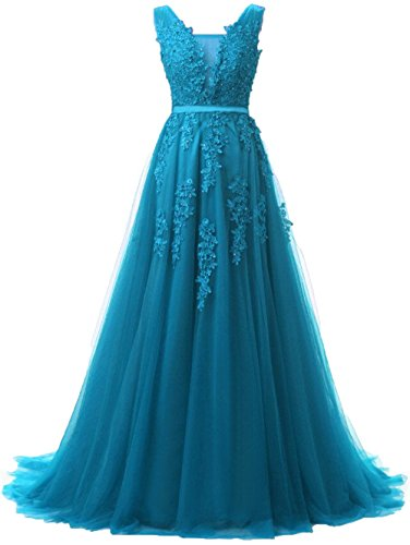 Huifany Formal Long Sweep Train Prom Gowns Beaded V Neck Evening Dresses Teal Blue,14