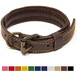 Logical Leather Padded Dog Collar - Best Full Grain Heavy Duty Genuine Leather Collar - Brown - Small