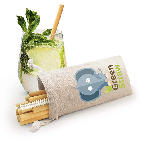12 Reusable Bamboo Straws - 5 to 9 Inches - Biodegradable And Dishwasher-Safe Including Brush - Handcrafted in Thailand -