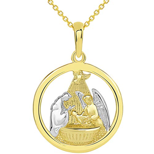 14k Yellow Gold Polished Two Tone Open Round Holy Spirit Baptism Christening Pendant with Rolo Chain Necklace, 16