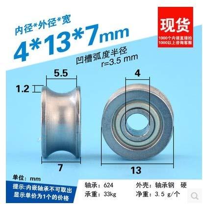Fevas U4137mm Bearing Wheel, U Groove, Groove, 604UU Pulley, Roller, 604zz Steel Wheel, Wheel Mute
