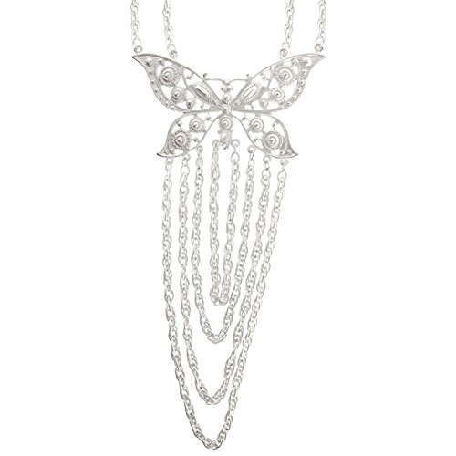 - Butterfly Bib Style Statement Necklace W/ Chain Drape, Ours Alone!, in Silver Tone with Matte Finish