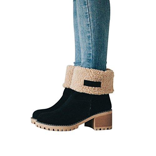 DOTACOKO Women Cute Warm Short Boots Suede Chunky Mid Heel R