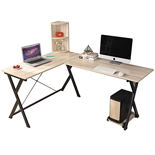 Dland Computer Desk L-Shaped Home Office PC Laptop Desk Triangular Fixed X-Type Frame Corner Table Workstation with Bookshelf, Maple (Maple Office Table)