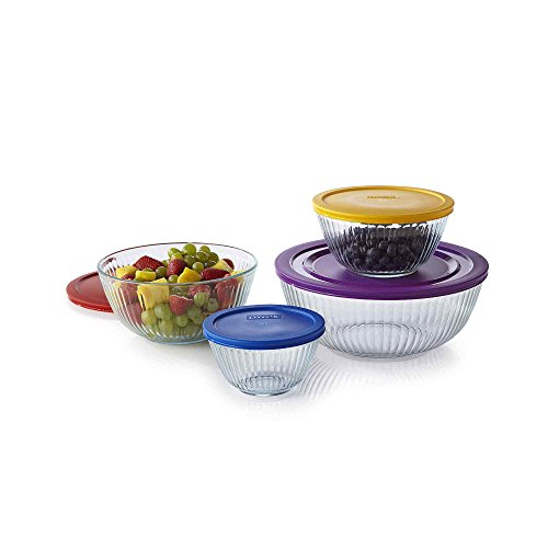Pyrex 1112377 8-pc Sculptured Mixing Bowl Set ,Blue.Purple.Yellow.Red ,Blue.Purple.Yellow.Red. (Pyrex 10 Piece Storage Set With Lid)