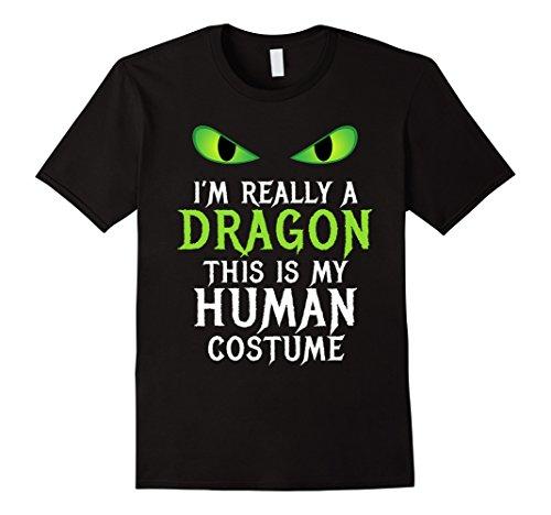 Scary School Girl Costume Diy (Mens Funny Scary Dragon Costume Halloween Shirt for Women Men Boy 2XL Black)