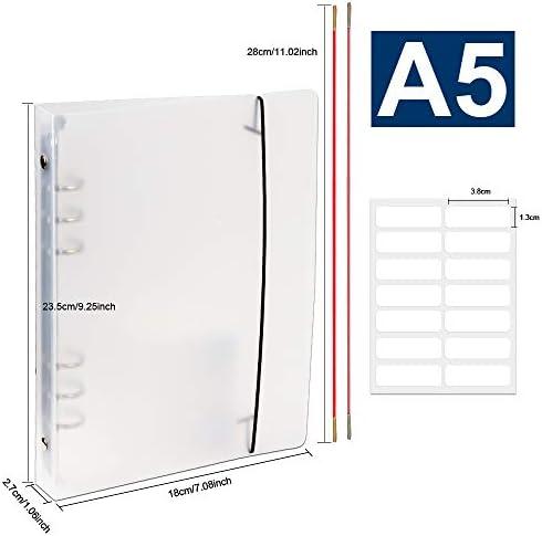 Fandamei A5 liniertes Nachfüllpapier, mit 6 Ringbucheinbändern, PP Notizpapier-Schutz + 90 Blatt nachfüllbares liniertes Papier + Register + 2 Binderumschläge + Lineal + Etiketten