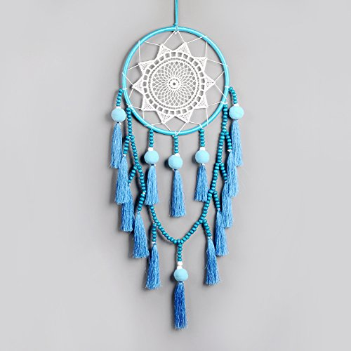 Artilady Macrame Wall Hanging Dream Catchers Boho Home Decoration Decor pom pom Tassel Ornament Craft(Blue Tassel) … by Artilady