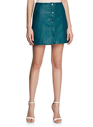 oodji Ultra Mujer Falda de Piel Sintética con Botones a Presión Verde (6C00N)