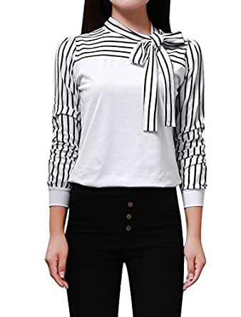 Allegra K Lady Bow Neck Blouse Stripe Long Sleeve Shirts Casual Fall Tops, White, X-Small / US  2