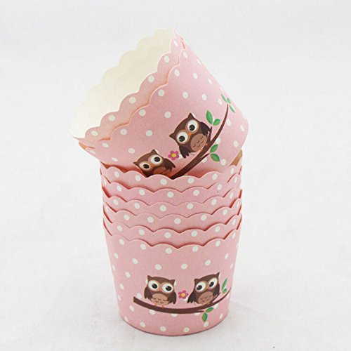 Party Decorations Cars - 50pcs Cartoon Owl Animal Pattern Paper Cupcake Cake Muffin Cup Mold Cases Wedding Party Valentine - Games Decorations Cars Party Room Boys Decorate]()