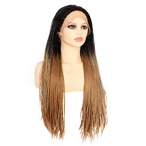 Colorfulwigs Ombre Brown Micro Braided Synthetic Lace Front Braid Wig Heat Resistant 180% Density Braids Wig for Black Women African American Hair (24inch)