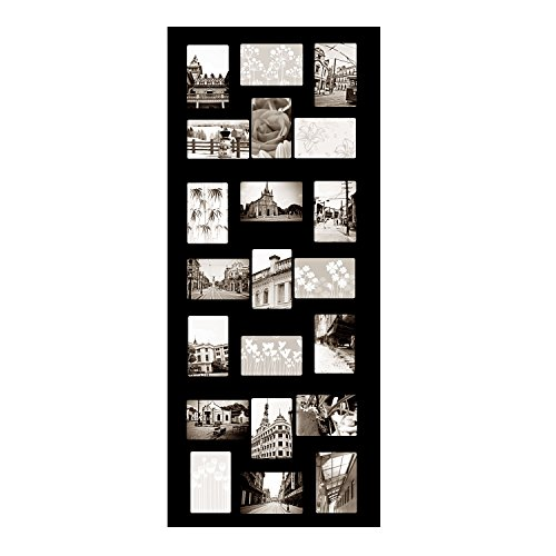 Adeco 4x6-Inch Decorative Wooden Wall Hanging Collage Frame with 21 Openings, Black [PF0245]