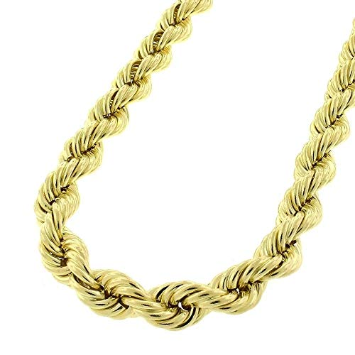 10K Gold 2MM 3MM 4MM Diamond Cut Rope Chain Necklace for Men and Women- Braided Twist Chain Necklace, 10K Gold Necklace, 10 Karat Gold Chain, Sizes 16-52 10k Gold Rope Chain