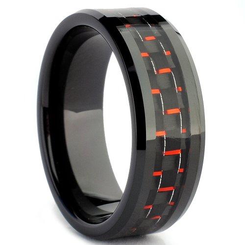 Ultimate Metals Co. Bague De Mariage En Tungstène Incrusté Fibre de Carbone Noir et Rouge Pour Homme