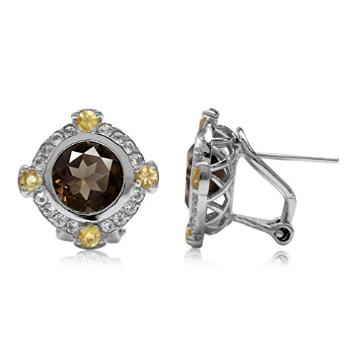 (3.74ct. Natural Round Shape Smoky Quartz & Citrine 925 Sterling Silver Omega Clip Post)