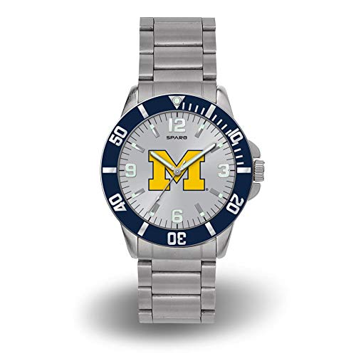 Rico Michigan Wolverines NCAA Key Watch with Stainless Steel Band - Michigan Wolverines Sport Steel Watch