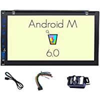Backup Camera included!!! Android 6.0 Double Din Car Stereo 7 Touch Quadcore Screen Car DVD Player In Dash GPS Navigation Headunit Radio Receiver Support Bluetooth/Mirror-link/WiFi