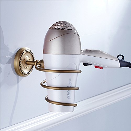 Vejaoo Antique Brass Spiral Practical Wall-mounted Bathroom Hair Dryer Holder by Vejaoo