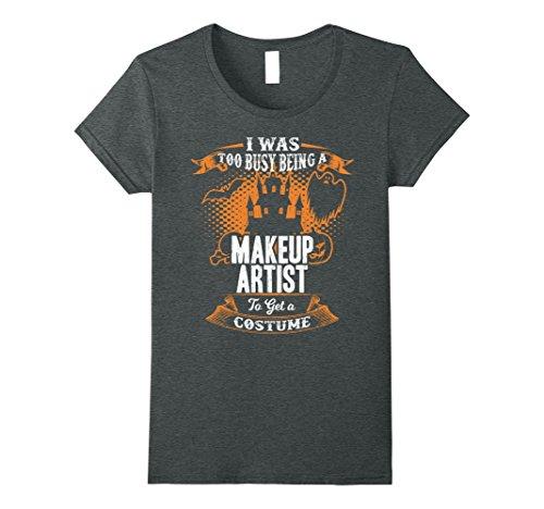 Womens Funny Makeup Artist Halloween T-Shirt Gift Idea Small Dark Heather