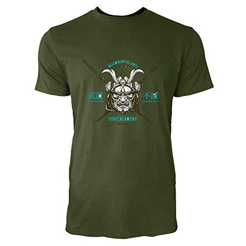 SINUS ART® Japanischer Samurai mit Schwertern Herren T-Shirts in Armee Grün Fun Shirt mit tollen Aufdruck