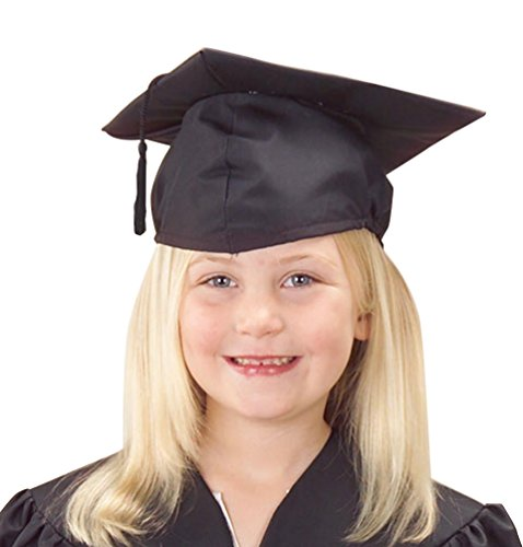 U.S. Toy Children's Child Size Adjustable Elastic Band Black Graduation Cap Hat with -
