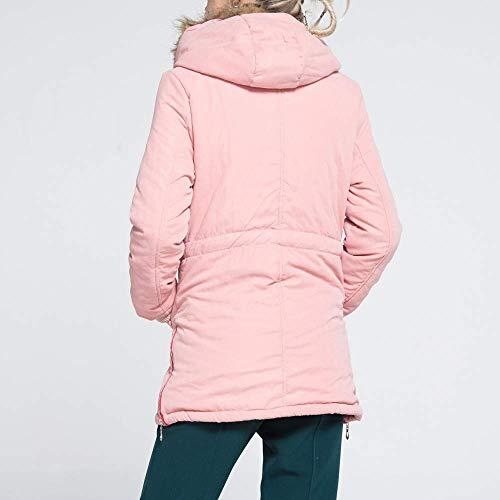 M Para Tamaño color Con Rosado Zhrui Mujer Invierno Larga De Cálido Abrigo Capucha Manga 678ZOq