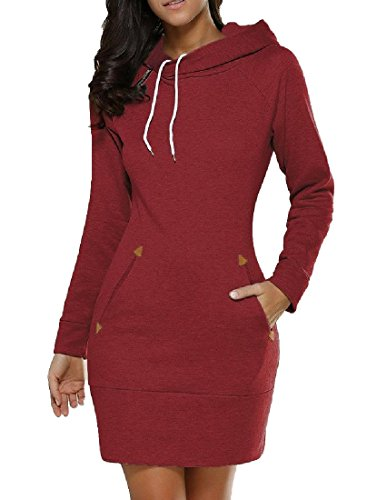 Sweatshirt Size Party Dress Wine Club Hood Casual Plus Bodycon Coolred Women's Red BXvqEE
