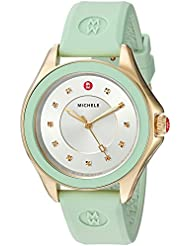 MICHELE Womens Cape Quartz Stainless Steel and Silicone Dress Watch, Color:Green (Model: MWW27A000018)