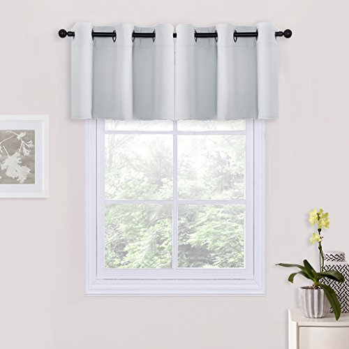 Blackout Drapes Shade for Nursery - Grommet Top Tiers Drapes / Valances / Tiers for Bedroom by PONY DANCE,42 x 24 inch,Greyish White,Double Pieces - Shade Two Tier